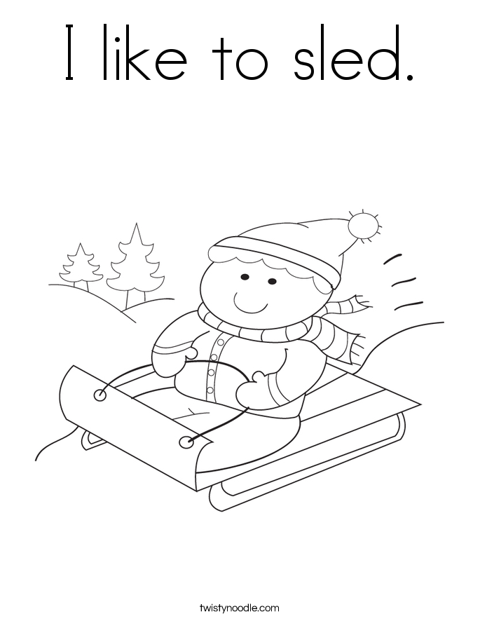 I like to sled. Coloring Page