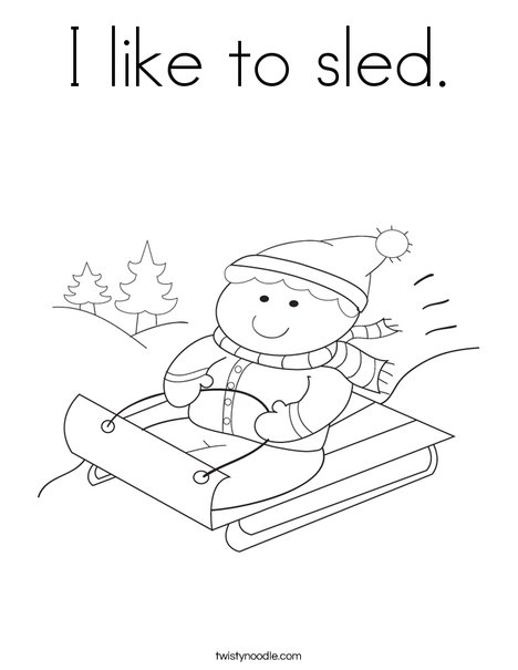 Boy on Sled Coloring Page