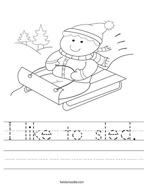 Boy on Sled Worksheet