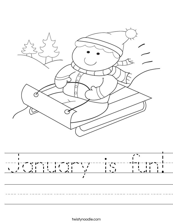 January is fun Worksheet - Twisty Noodle