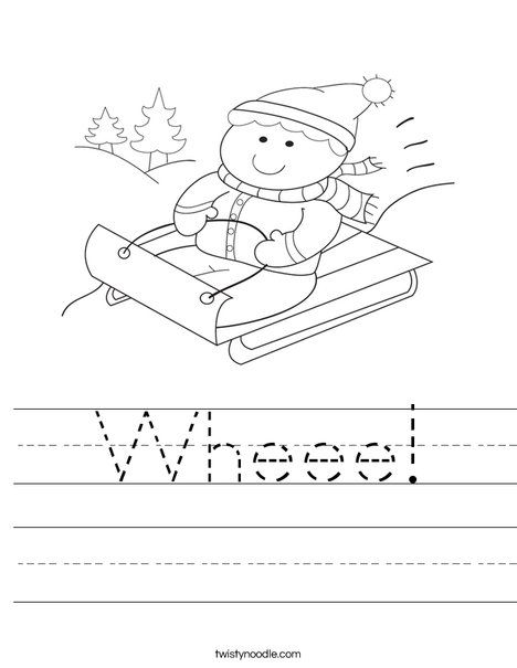 Boy on Sled Worksheet
