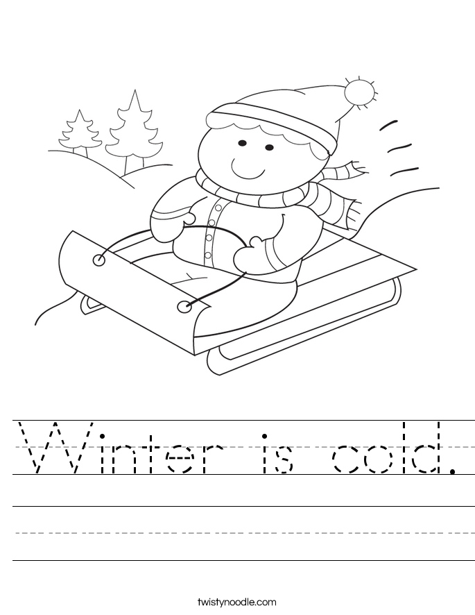 Winter is cold Worksheet - Twisty Noodle