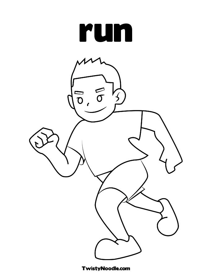 Kids running coloring pages