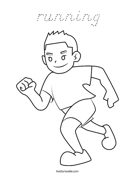 Boy Running Coloring Page