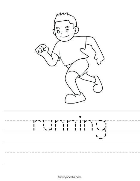 Boy Running Worksheet