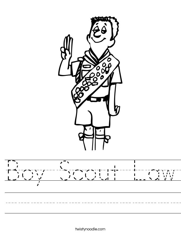 Printables Cub Scout Worksheets boy scout worksheet twisty noodle law handwriting sheet