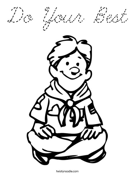 Boy Scout Sitting Coloring Page