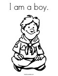 I am a boy. Coloring Page