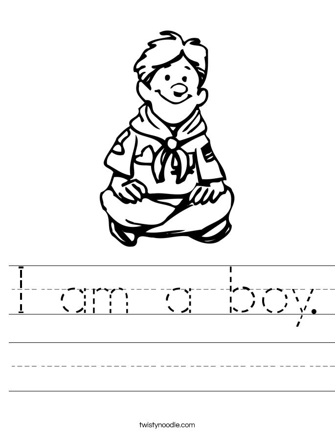 I am a boy. Worksheet