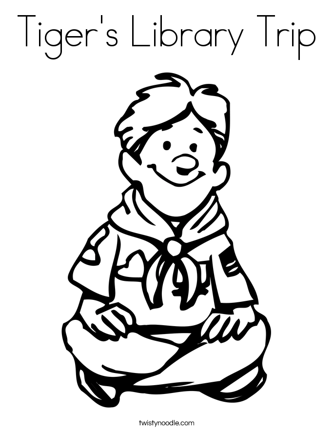 Tiger's Library Trip Coloring Page