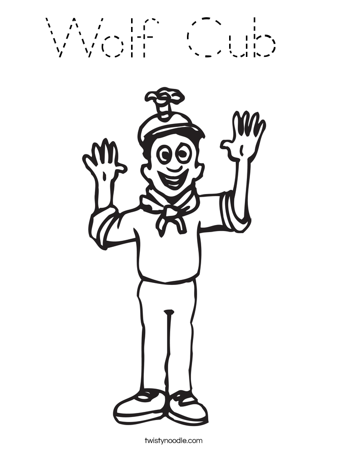 Wolf cub coloring page tracing twisty noodle for Wolf cub coloring pages