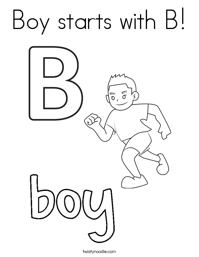 Boy starts with B! Coloring Page