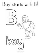 Boy starts with B Coloring Page