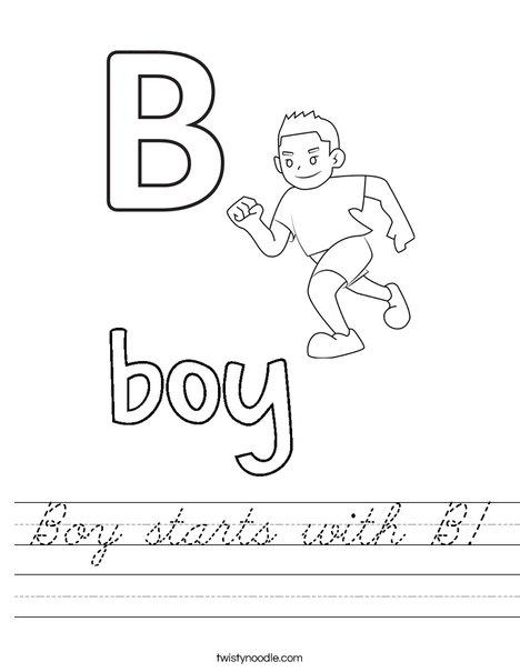 Boy starts with B Worksheet