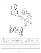 Boy starts with B Handwriting Sheet