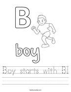 Boy starts with B Handwriting Sheet