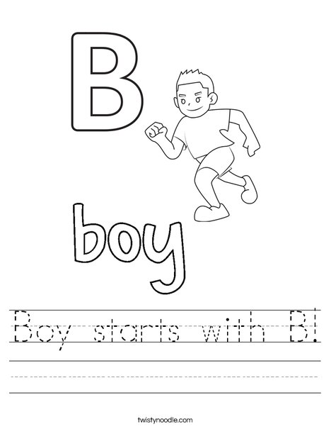 Boy starts with B Worksheet