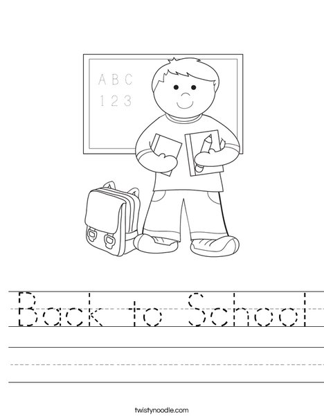 Back to School Worksheet - Twisty Noodle
