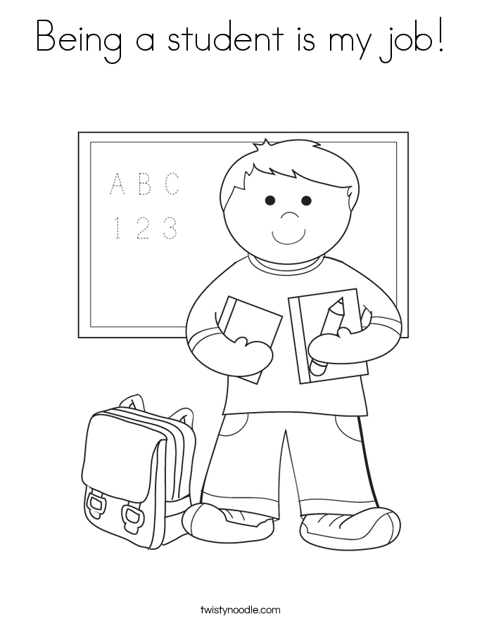 Being a student is my job! Coloring Page