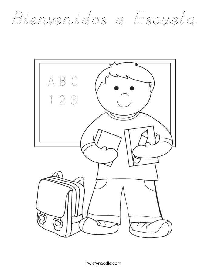 Bienvenidos a Escuela Coloring Page