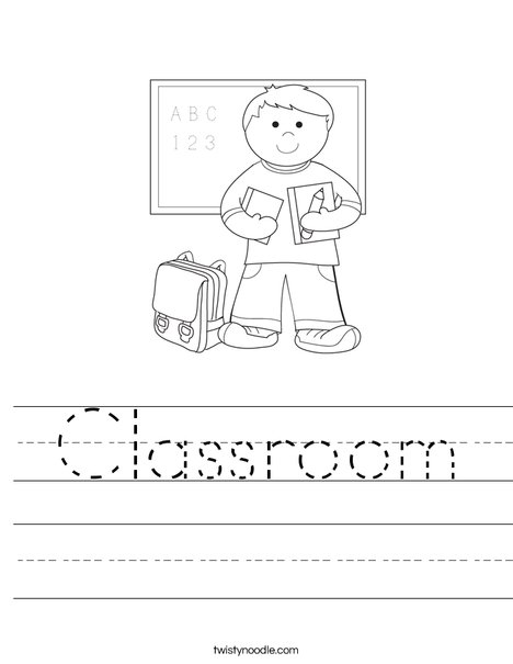 Boy Student in School Worksheet
