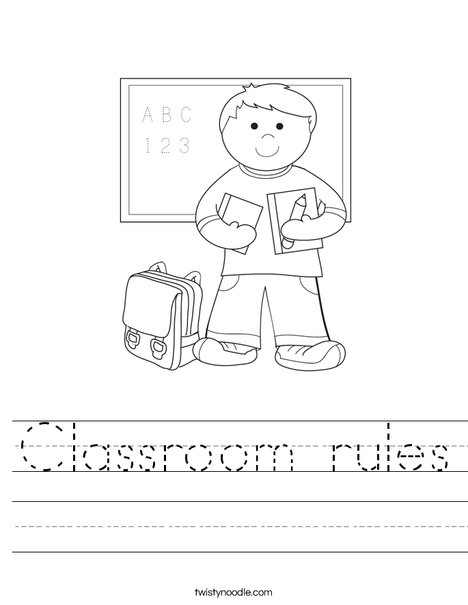 Printables Classroom Rules Worksheet classroom rules worksheet twisty noodle boy student in school worksheet