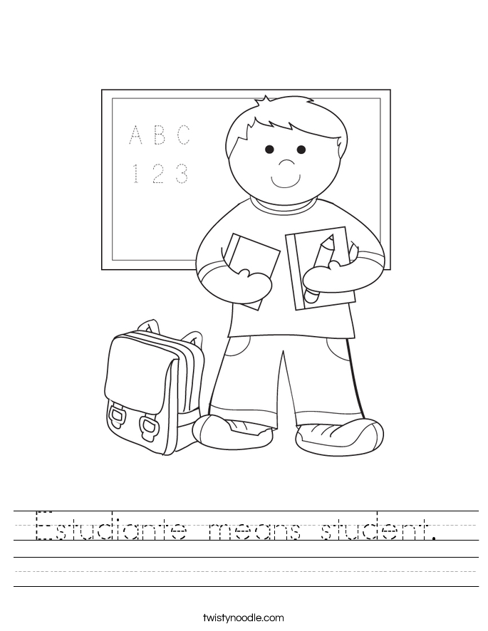Estudiante means student.  Worksheet