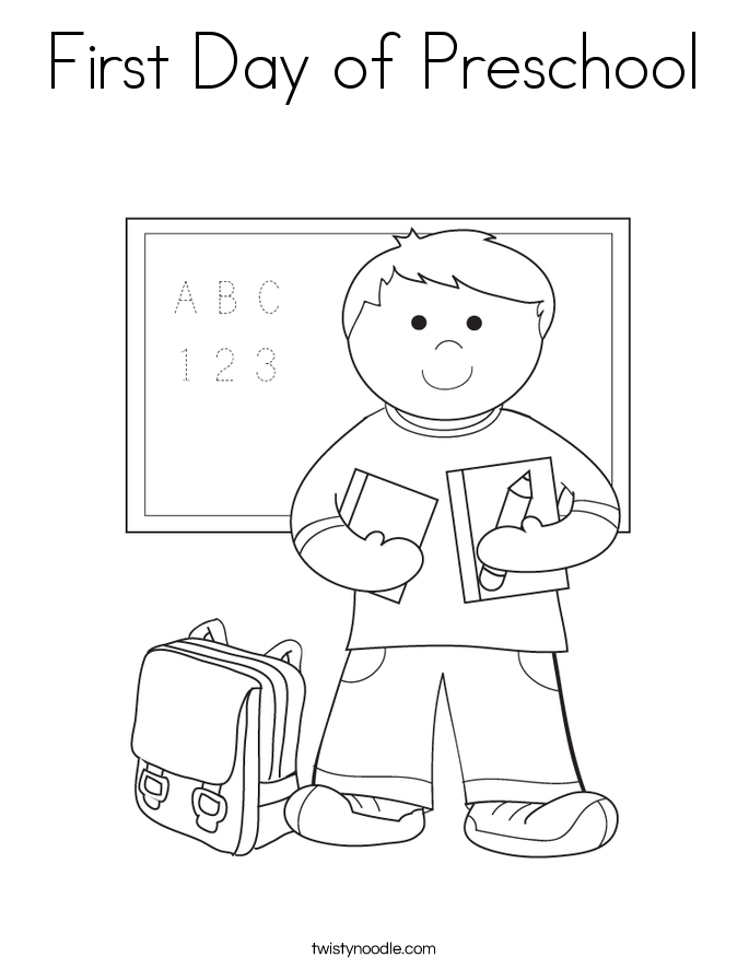 First Day Of Preschool Coloring Page.
