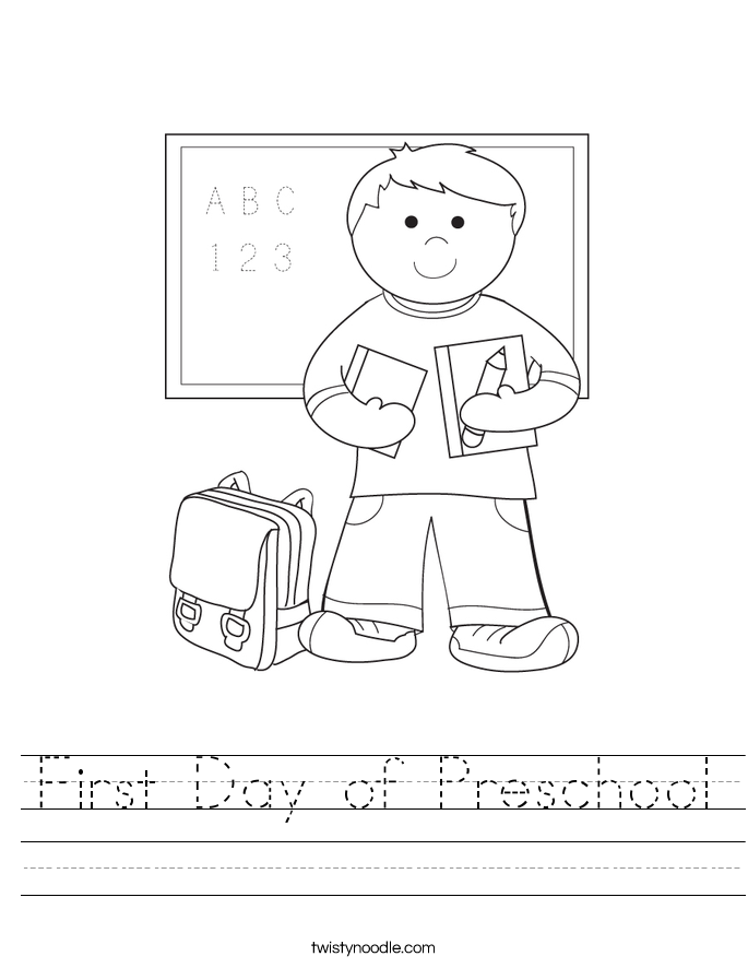 First Day of Preschool Worksheet Twisty Noodle – Preschool Worksheet