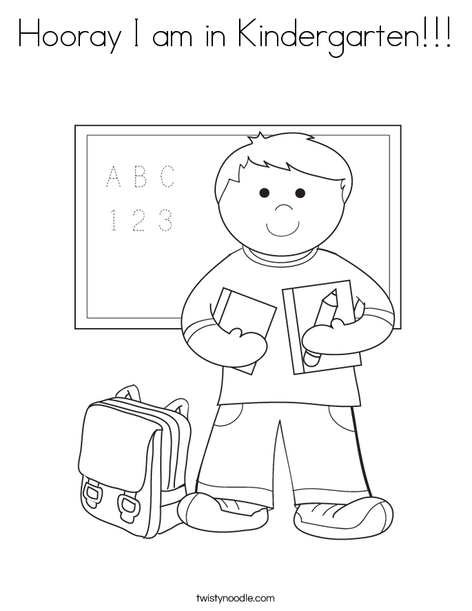 hooray i am in kindergarten coloring page - Kindergarten Coloring Page
