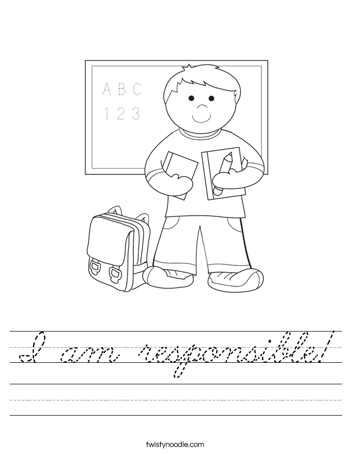 I am responsible! Worksheet