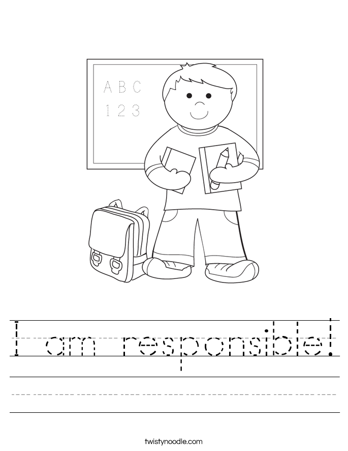 Responsible Student I am responsible! worksheet.