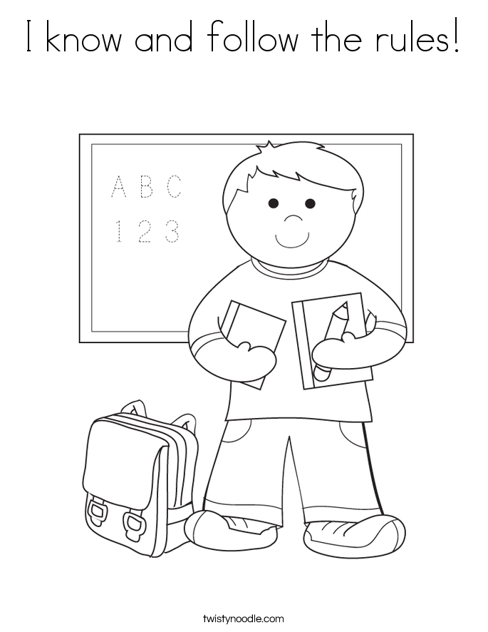 I know and follow the rules! Coloring Page