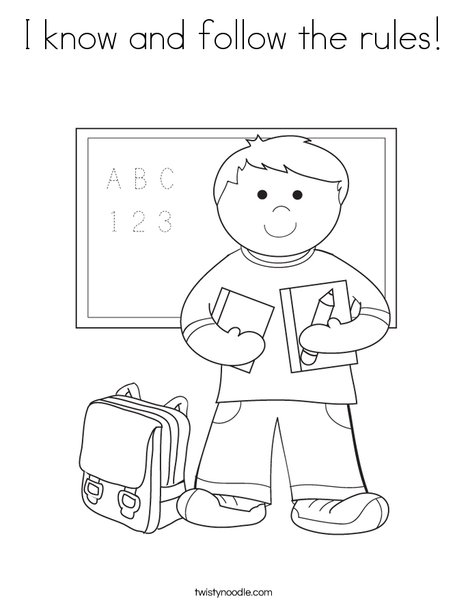 School Rules Coloring Pages Boy Student in School Coloring
