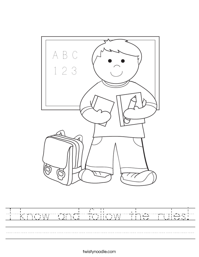 I know and follow the rules! Worksheet