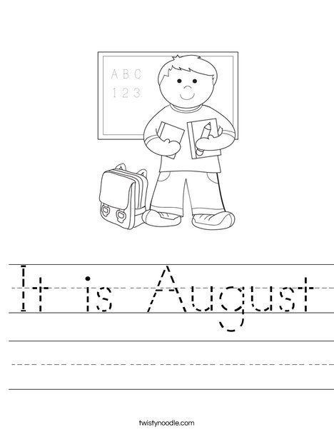 It Is August Worksheet