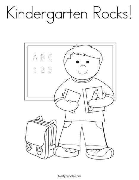 Kindergarten Rocks Coloring Page - Twisty Noodle