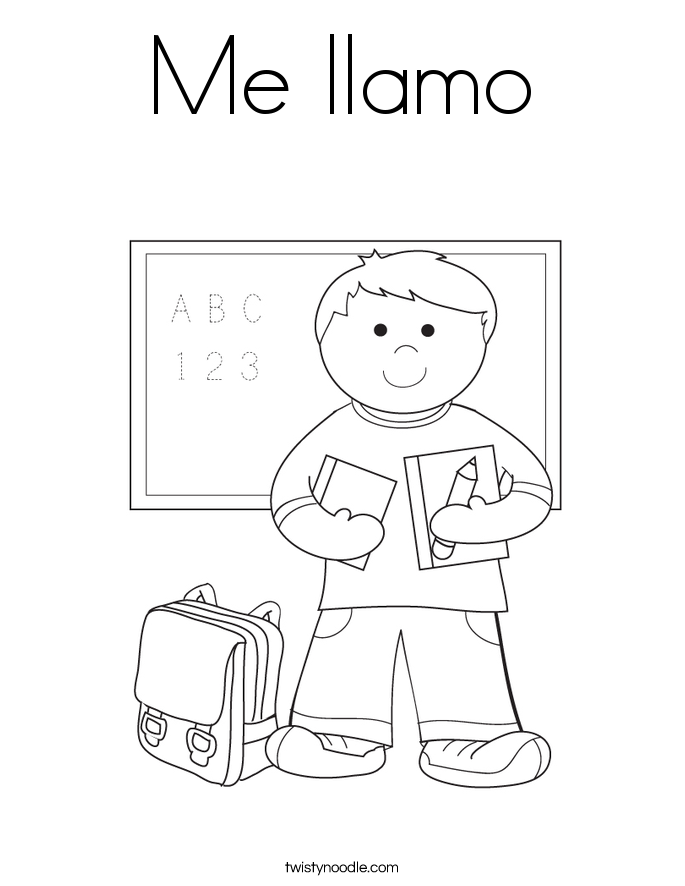 Me llamo coloring page for Twisty noodle coloring pages