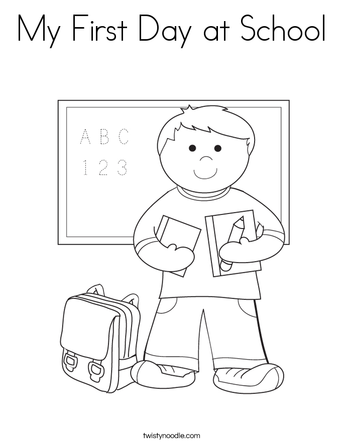 My First Day at School Coloring Page