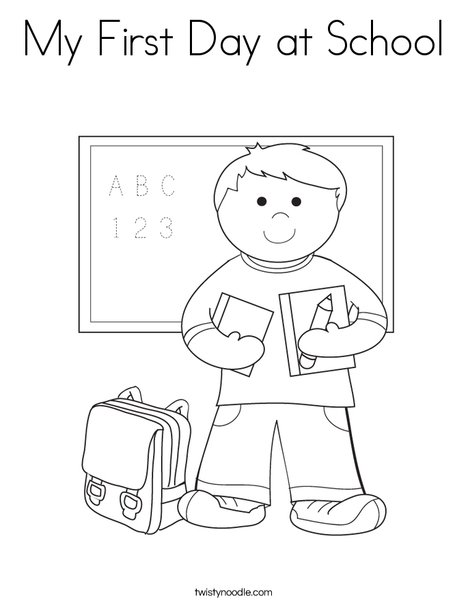 boy student in school coloring page - First Day Of School Coloring Page