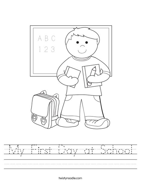 my first day at school worksheet  twisty noodle boy student in school worksheet