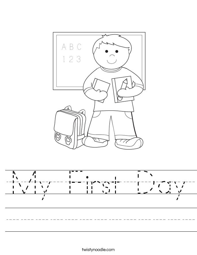 My First Day Worksheet Twisty Noodle – First Day of School Worksheets
