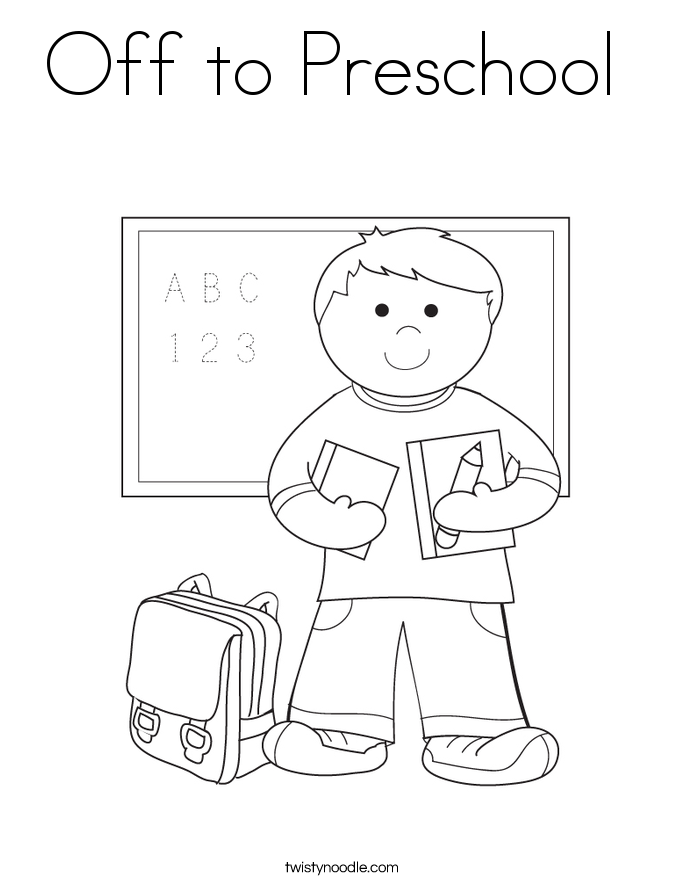 Off to Preschool  Coloring Page