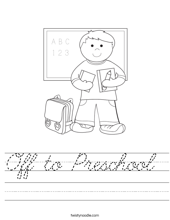 Off to Preschool  Worksheet
