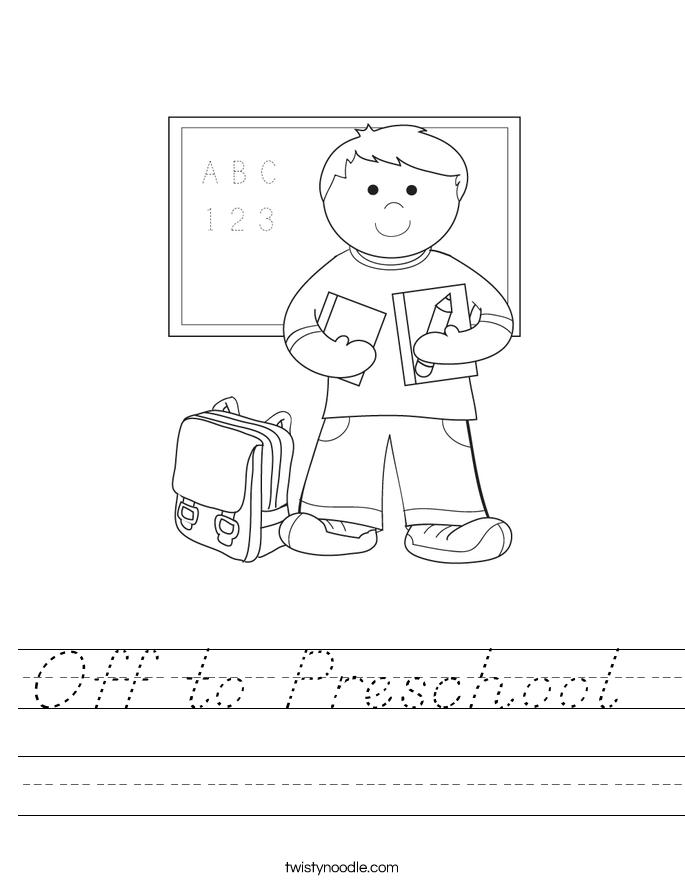 Off to Preschool  Worksheet