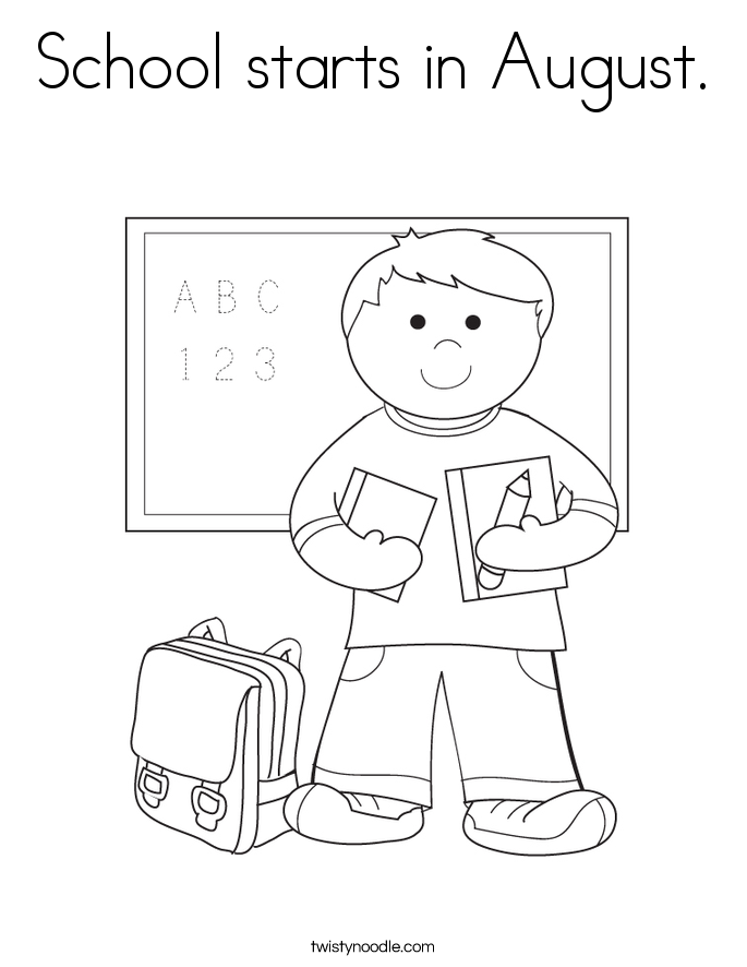 School starts in August. Coloring Page