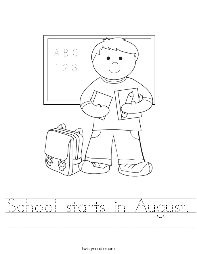 School starts in August. Worksheet