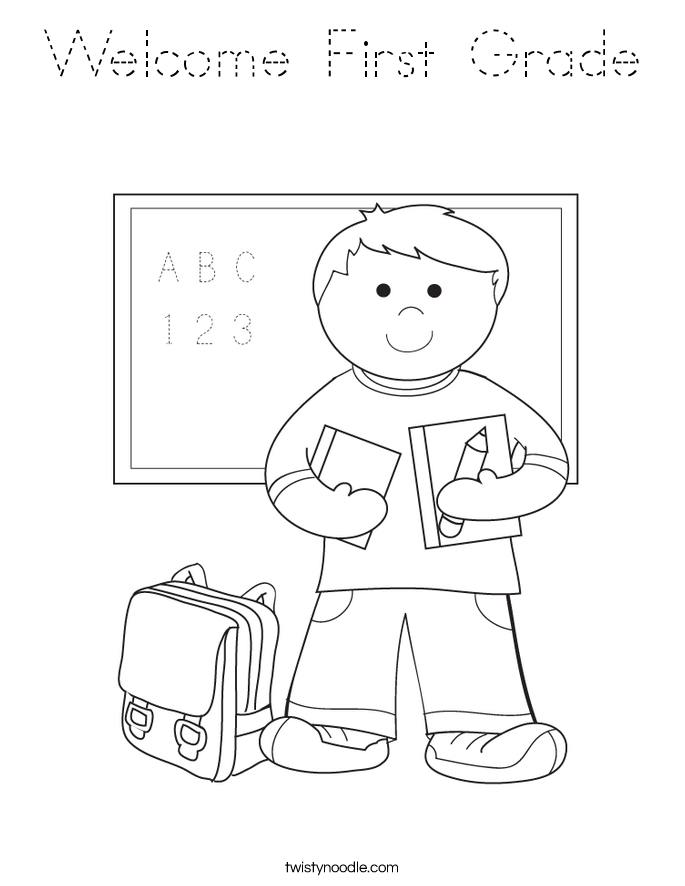 Welcome First Grade Coloring Page