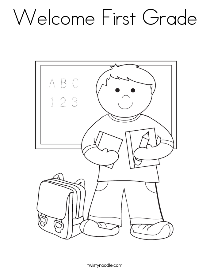 Welcome First Grade Coloring Page - Twisty Noodle