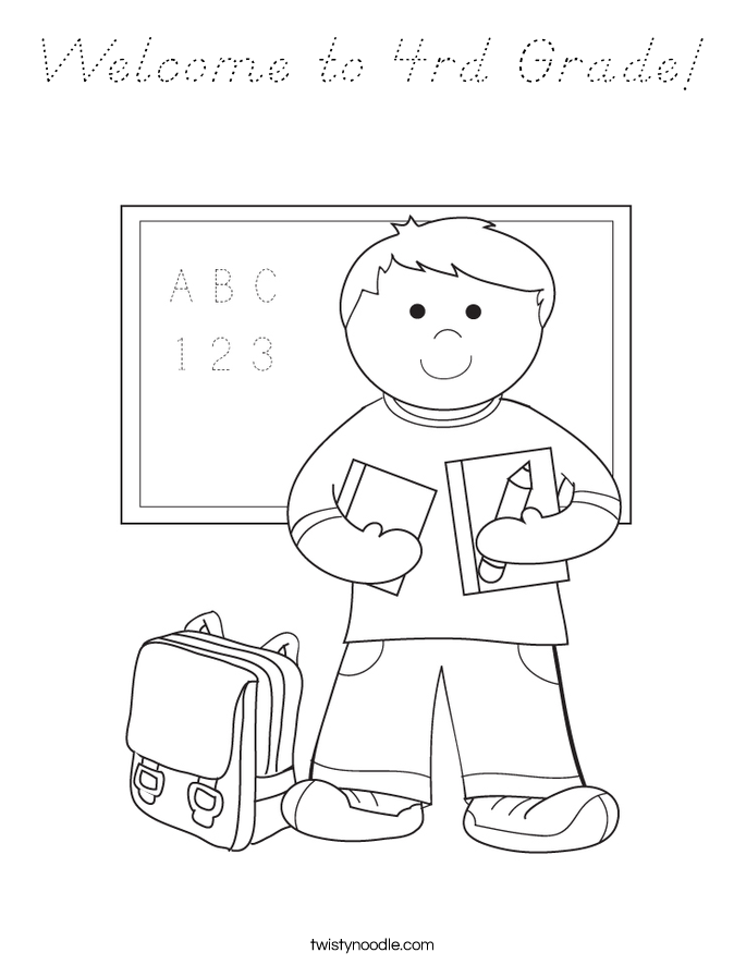 Welcome to 4rd Grade! Coloring Page